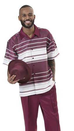 Men's Outfits Casual Short Sleeve Burgundy Horizontal Montique 1911