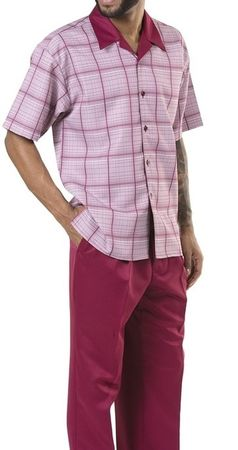 Men's Outfits Casual Short Sleeve Burgundy Plaid Montique 1901