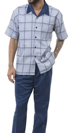 Men's Outfits Casual Short Sleeve Navy Plaid Montique 1901 Size L, XL, 3XL