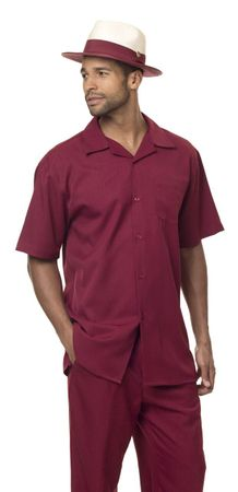 Men's Party Outfit Casual Short Sleeve Burgundy Montique 696