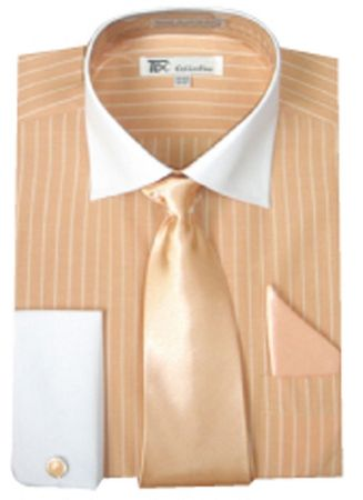 Men's Peach Stripe White Collar French Cuff Dress Shirt Tie SG17