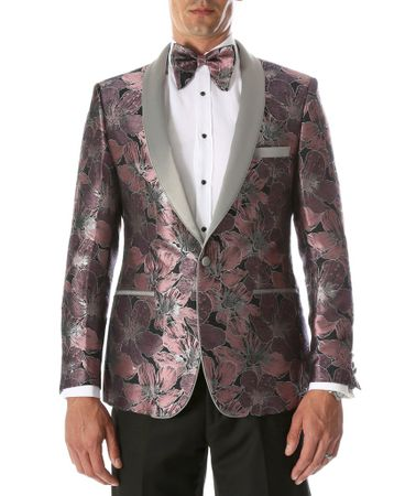 Men's Pink Floral Slim Fit Prom Tuxedo Blazer Ferrecci Hugo