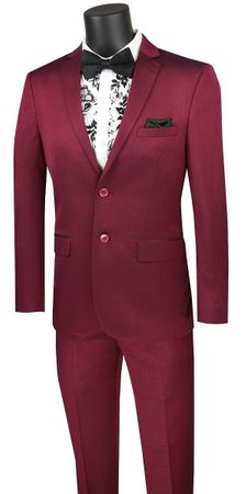 Men's Plum Fitted Suit Extra Slim Vinci US2R-2 - click to enlarge