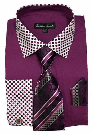 Men's Purple Dot Collar Cuff Dress Shirt Tie Set Fortino FL630