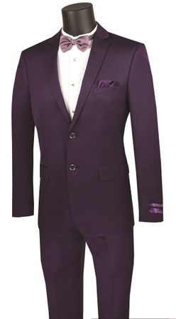 Men's Purple Fitted Suit Extra Slim Vinci NUS2R-2 - click to enlarge