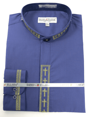 Men's Purple Mandarin Collar Shirt with Cross Embroidery DS2005C