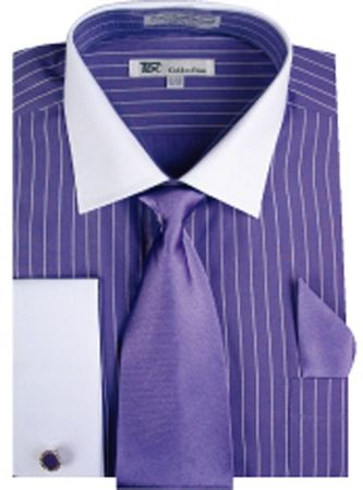 Men's Purple Stripe White Collar French Cuff Dress Shirt Tie SG17