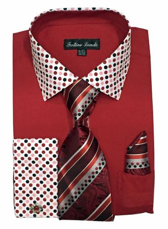 Men's Red Dot Collar Cuff Dress Shirt Tie Set Fortino FL630