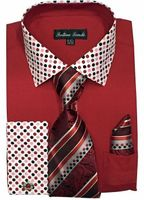 Men's Red Dot Collar Cuff Dress Shirt Tie Set Fortino FL630 Size 18.5 36/37 Final Sale