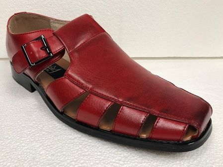 Men's Red Dress Sandals Closed Toe 33289