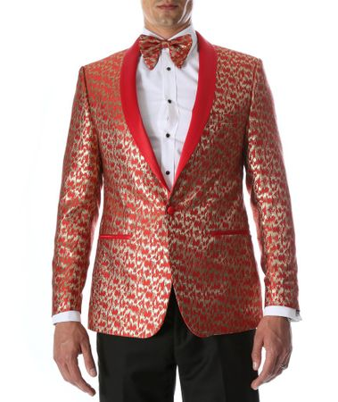 Men's Red Fancy Slim Fit Entertainer Tuxedo Jacket Ferrecci Webber