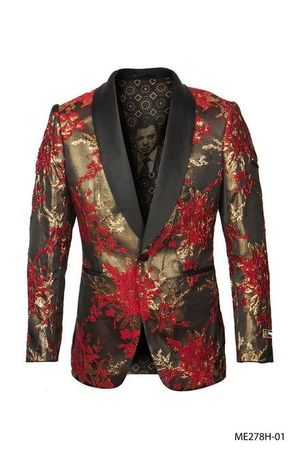 Men's Red Floral Paisley 1 Button Jacket Empire ME278H-01