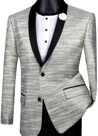 Mens Grey Slim Fit Metallic Stripe Prom Jacket Vinci BSF-12