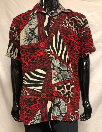 Men's Red Leopard Print Short Sleeve Casual Shirt Pronti S6378 - click to enlarge
