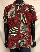 Men's Red Leopard Print Short Sleeve Casual Shirt Pronti S6378