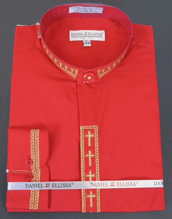 Men's Red Mandarin Collar Shirt with Cross Embroidery DS2005C