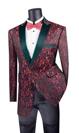 Men's Red Paisley Flower Tuxedo Jacket Black Lapels BF-2