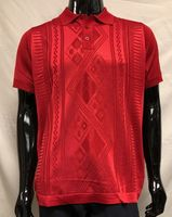 Men's Red Shiny Knit 1960s Style Polo Shirt by Pronti K6413