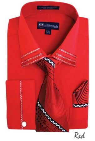 Men's Red Trim Collar Dress Shirt Matching Tie Set SG28
