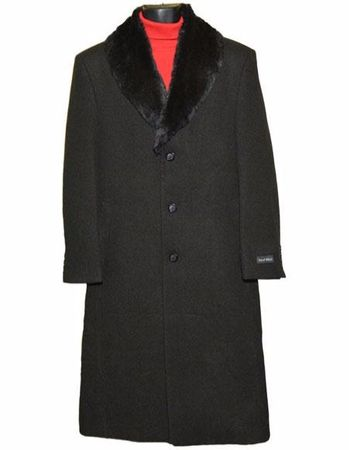 Men's Removable Fur Collar Black Wool Overcoat Long Length Alberto - click to enlarge