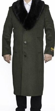 Men's Removable Fur Collar Olive Overcoat Wool Full Length Alberto - click to enlarge