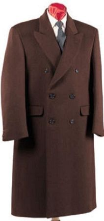Men's Brown Double Breasted Wool Blend Overcoat Alberto DB-COAT - click to enlarge
