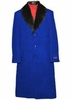 Men's Removable Fur Collar Royal Blue Overcoat Wool Full Length Alberto