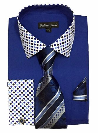 Men's Royal Blue Dot Collar Cuff Dress Shirt Tie Set Fortino FL630