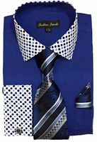 Men's Royal Blue Dot Collar Cuff Dress Shirt Tie Set Fortino FL630 Size 18.5 34/35 Final Sale