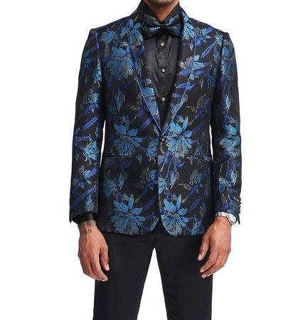 Men's Royal Slim Fit Flower Prom Blazer Matching Bow Tie Tazio MJ338S-1