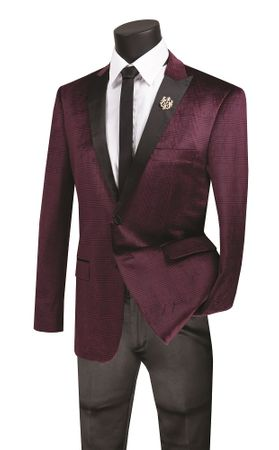 Slim Fit Velvet Tuxedo Blazer Burgundy Plaid Vinci BS-14