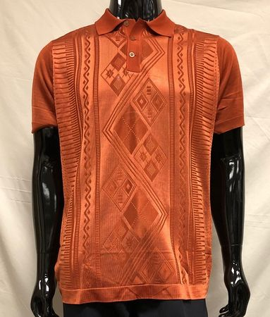 Men's Rust Shiny Knit 1960s Style Polo Shirt by Pronti K6413