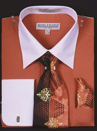 Men's Rust White Collar French Cuff Dress Shirt Tie Set DS3006WTPRT - click to enlarge