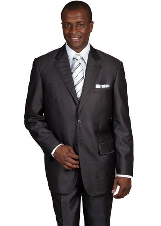 Men's Sharkskin Suit Shiny Dark Grey 2 Button Flat Front 57021 - click to enlarge
