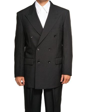 Men's Sharp Double Breasted Dress Suit Black DPP - click to enlarge