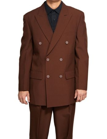 Men's Sharp Double Breasted Dress Suit Brown DPP