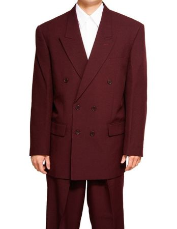 Men's Sharp Double Breast 6 Button Suit Burgundy Vinci DPP