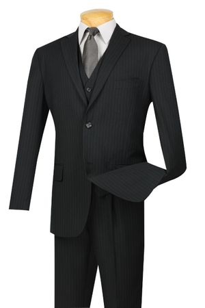 Men's Shiny Black Sharkskin 3 Piece Suit Vinci V2RR-1 - click to enlarge