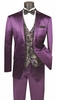 Men's Shiny Purple Slim Fit Suit Paisley Vest Vinci NSVFF-2