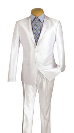 Men's Shiny White Slim Fitting Suit Tight Tapered Leg Vinci S2RR-4