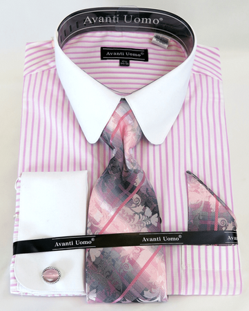 Men's Shirt Tie Set Pink Banker Stripe Rounded Collar Avanti DN80M - click to enlarge