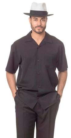 Men's Short Set All Black Outfit Montique 7696