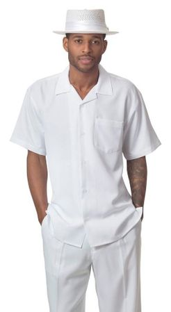 Men's Short Set All White Outfit Montique 7696