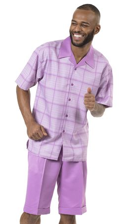 Men's Short Set Lavender Plaid Montique 71901 Size M