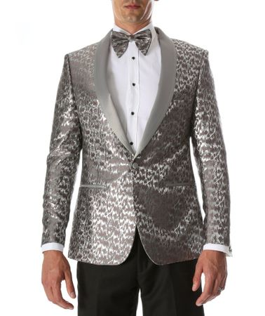Men's Silver Fancy Fitted Entertainer Tuxedo Jacket Ferrecci Webber