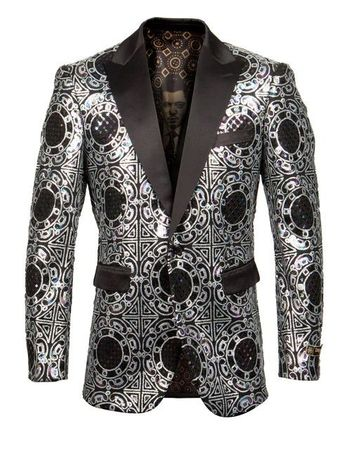Men's Silver Metallic Pattern 1 Button Jacket Empire ME259H-01