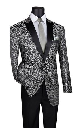 Men's Silver Paisley Flower Tuxedo Jacket Black Lapels BF-2