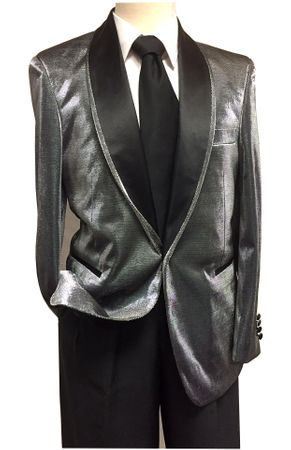 Mens Shiny Silver Dinner Jacket B.Martini Park 5876 IS - click to enlarge