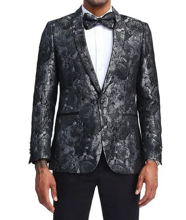 Men's Silver Slim Fit Floral Prom Jacket Matching Bow Tie Tazio MJ339S-3