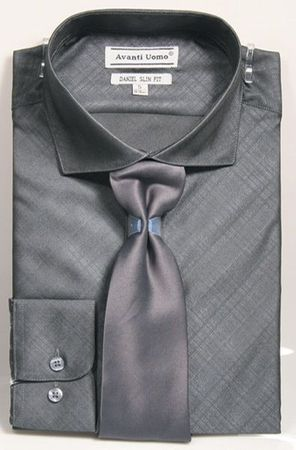 Men's Slim Fit Dress Shirt Tie Set Black Shiny Plaid DNS07